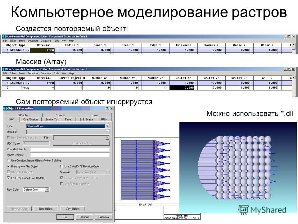 Компьютерное моделирование растров Сам повторяемый объект игнорируется Создается повторяемый объект: Массив (Array) Можно использовать *.dll