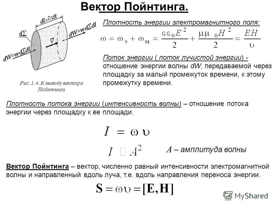 Вектор Пойнтинга. Плотность энергии электромагнитного поля: Рис. 1.4. К выводу вектора Пойнтинга Поток энергии ( поток лучистой энергии) - отношение энергии волны dW, передаваемой через площадку за малый промежуток времени, к этому промежутку времени
