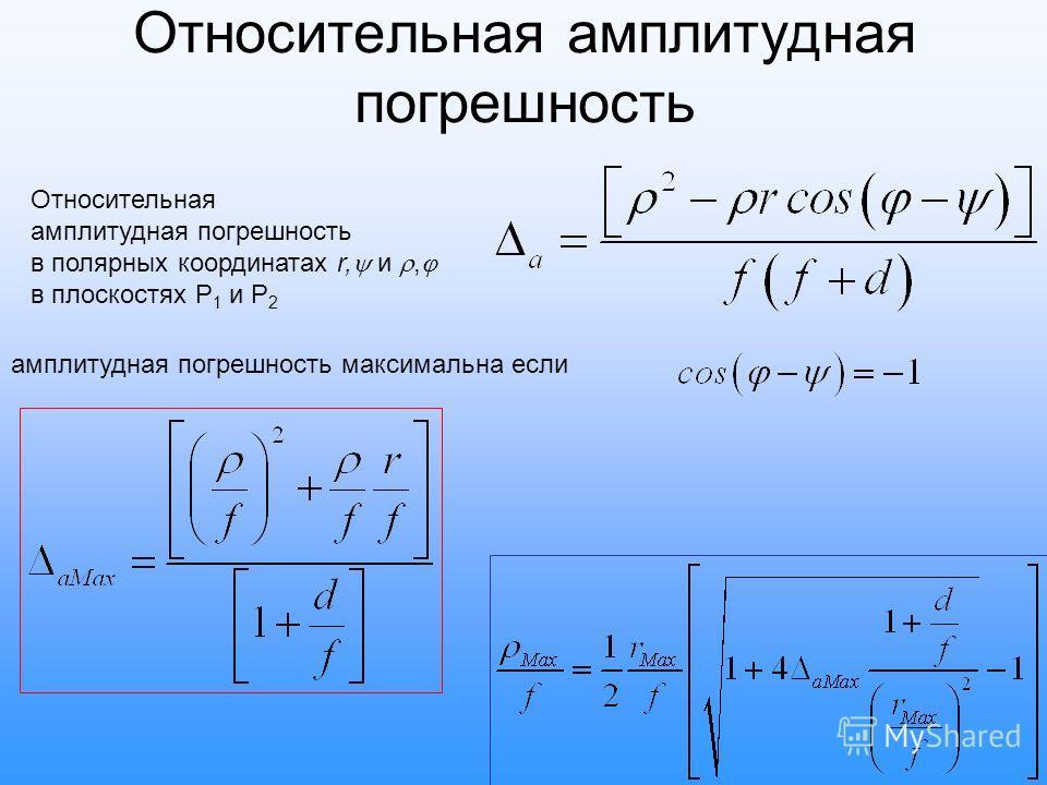 Относительная амплитудная погрешность Относительная амплитудная погрешность в полярных координатах r, и, в плоскостях P 1 и P 2 амплитудная погрешность максимальна если