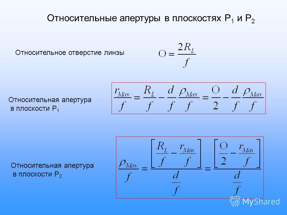 Относительное отверстие линзы Относительные апертуры в плоскостях P 1 и P 2 Относительная апертура в плоскости P 1 Относительная апертура в плоскости P 2