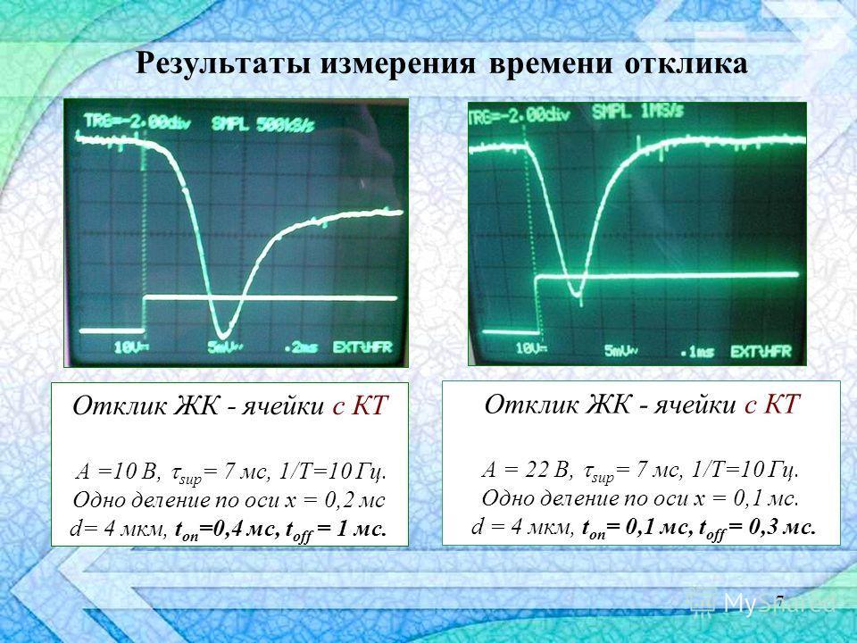 7 Результаты измерения времени отклика Отклик ЖК - ячейки с КТ А = 22 В, sup = 7 мс, 1/T=10 Гц. Одно деление по оси x = 0,1 мс. d = 4 мкм, t on = 0,1 мс, t off = 0,3 мс. Отклик ЖК - ячейки с КТ А =10 В, sup = 7 мс, 1/T=10 Гц. Одно деление по оси x =