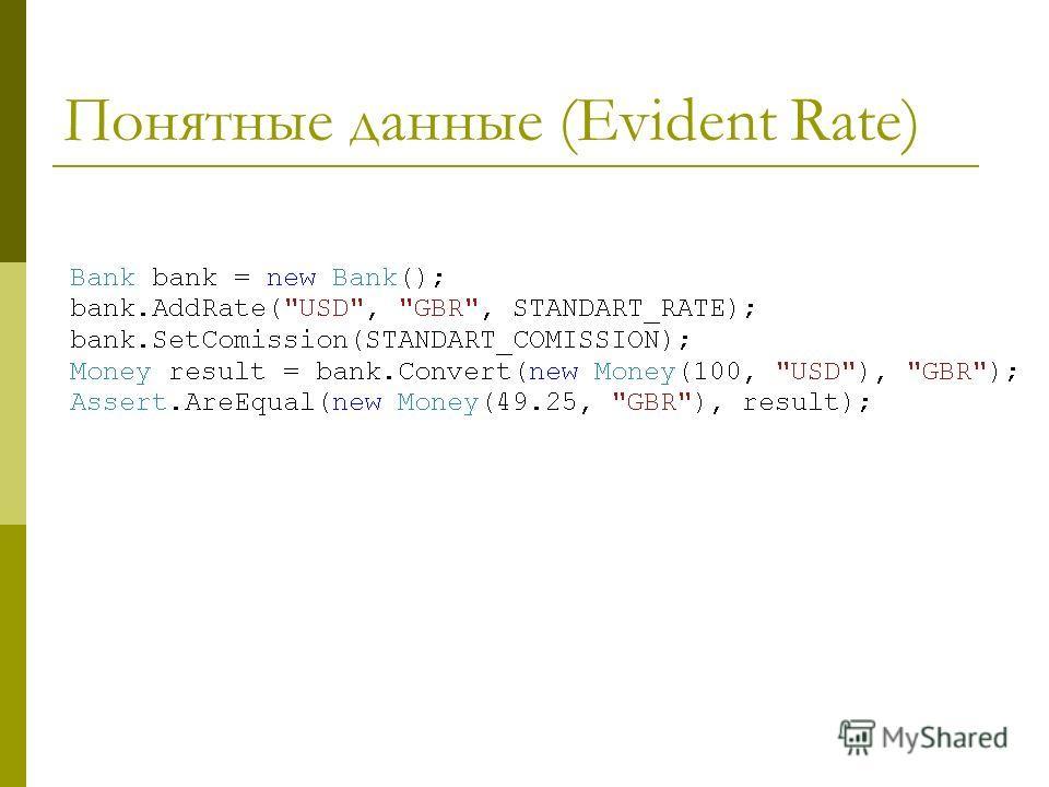 Понятные данные (Evident Rate)