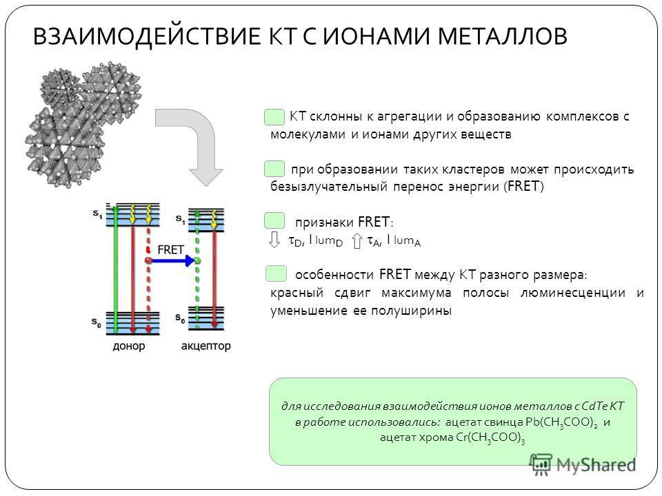 ВЗАИМОДЕЙСТВИЕ КТ С ИОНАМИ МЕТАЛЛОВ КТ склонны к агрегации и образованию комплексов с молекулами и ионами других веществ при образовании таких кластеров может происходить безызлучательный перенос энергии ( FRET ) признаки FRET : D, I lum D A, I lum A