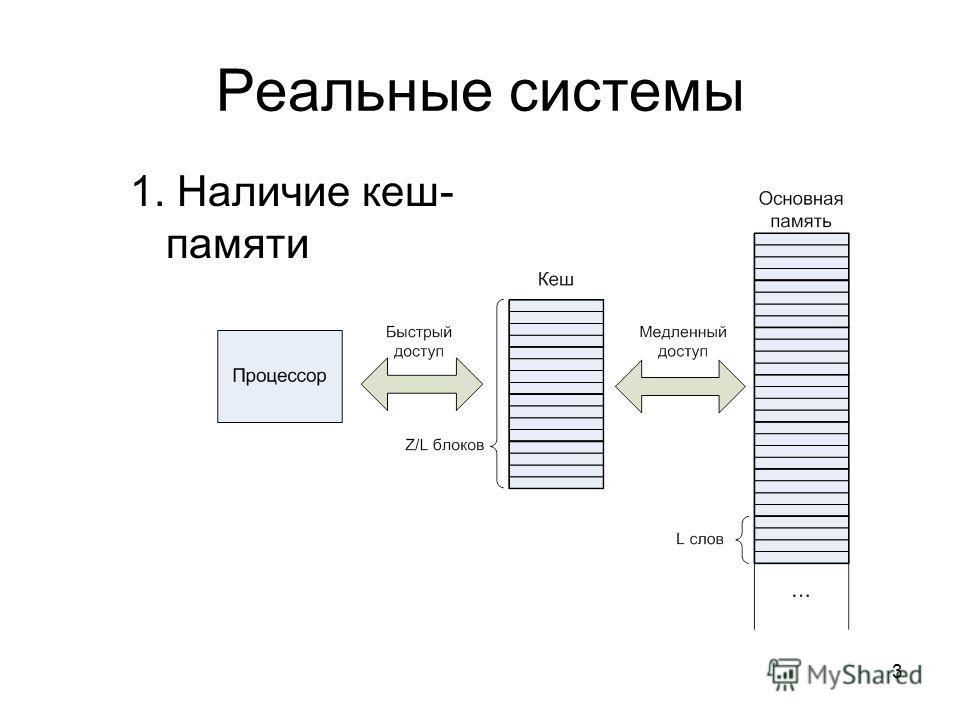 3 Реальные системы 1. Наличие кеш- памяти