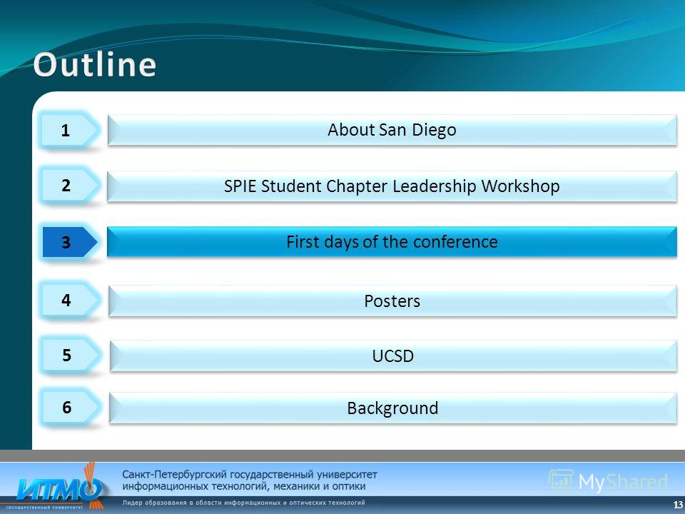 13 1 3 4 2 5 6 About San Diego Posters First days of the conference SPIE Student Chapter Leadership Workshop UCSD Background