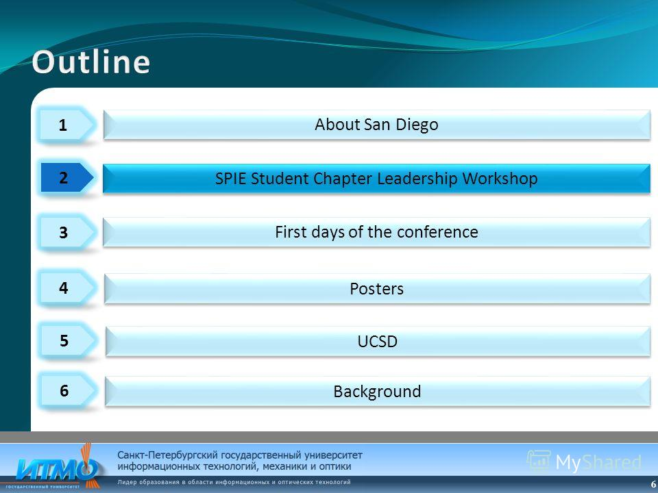 6 1 3 4 2 5 6 About San Diego Posters First days of the conference SPIE Student Chapter Leadership Workshop UCSD Background