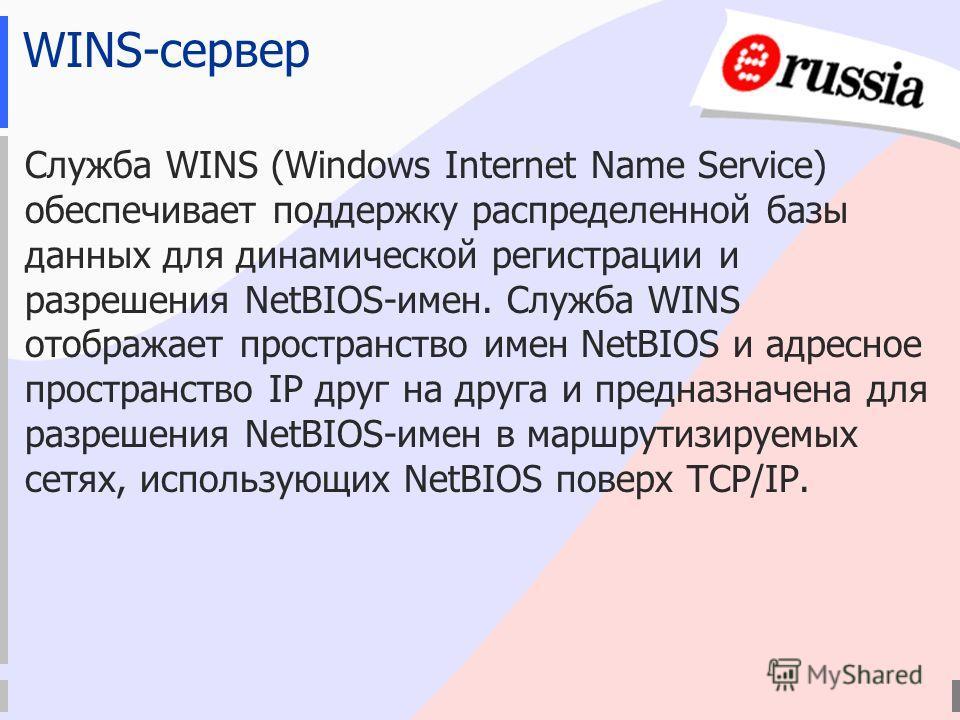 WINS-сервер Служба WINS (Windows Internet Name Service) обеспечивает поддержку распределенной базы данных для динамической регистрации и разрешения NetBIOS-имен. Служба WINS отображает пространство имен NetBIOS и адресное пространство IP друг на друг