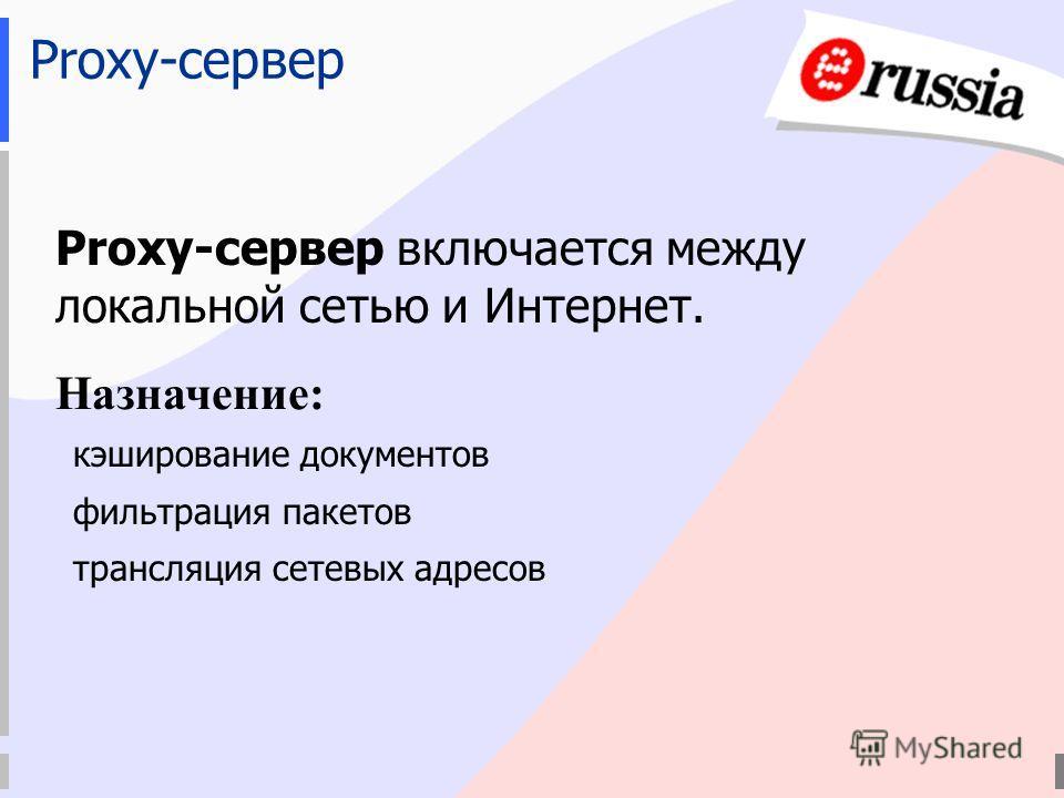 Proxy-сервер Proxy-сервер включается между локальной сетью и Интернет. Назначение: кэширование документов фильтрация пакетов трансляция сетевых адресов