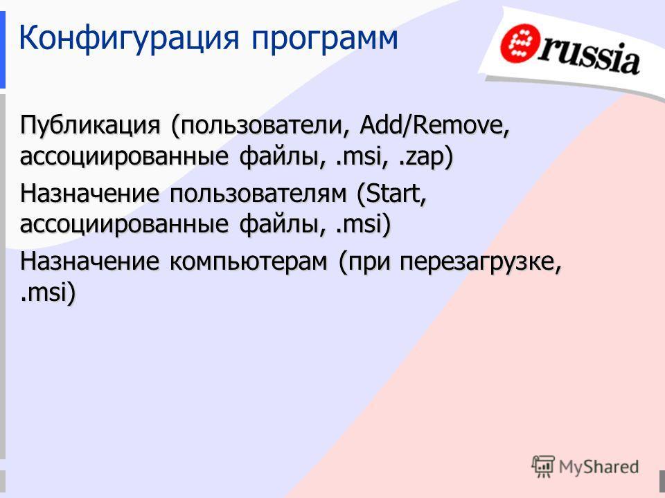 Публикация (пользователи, Add/Remove, ассоциированные файлы,.msi,.zap) Назначение пользователям (Start, ассоциированные файлы,.msi) Назначение компьютерам (при перезагрузке,.msi) Конфигурация программ