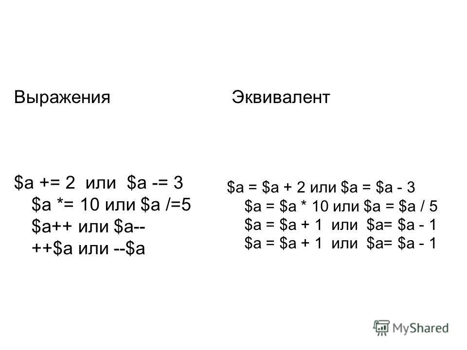 Выражения Эквивалент $a += 2 или $a -= 3 $a *= 10 или $a /=5 $a++ или $a-- ++$a или --$a $a = $a + 2 или $a = $a - 3 $a = $a * 10 или $a = $a / 5 $a = $a + 1 или $a= $a - 1 $a = $a + 1 или $a= $a - 1