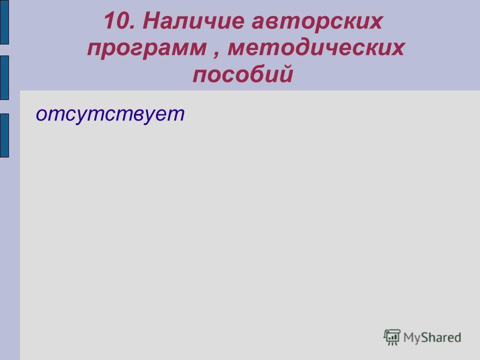 10. Наличие авторских программ, методических пособий отсутствует