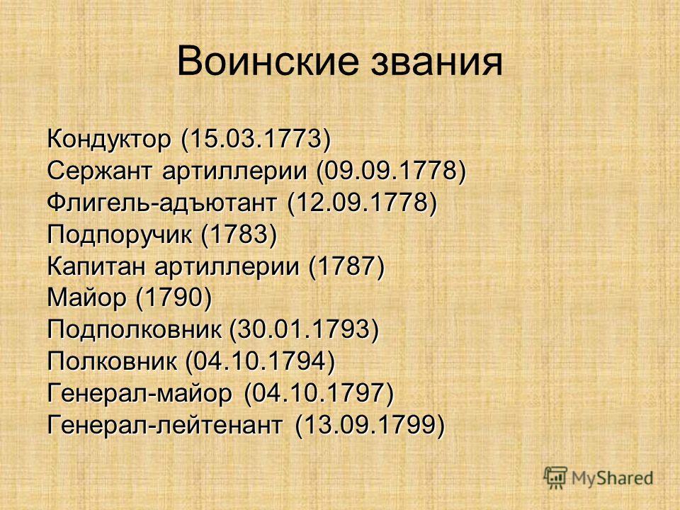 Воинские звания Кондуктор (15.03.1773) Сержант артиллерии (09.09.1778) Флигель-адъютант (12.09.1778)Подпоручик (1783) Капитан артиллерии (1787) Майор (1790)Подполковник (30.01.1793)Полковник (04.10.1794)Генерал-майор (04.10.1797)Генерал-лейтенант (13