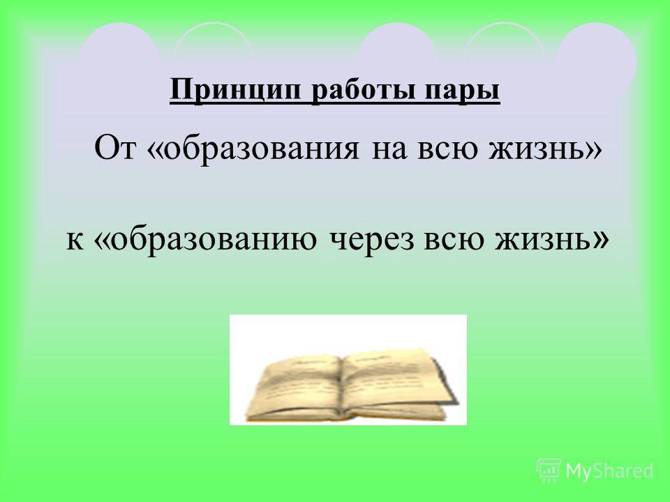 Принцип работы пары От «образования на всю жизнь» к «образованию через всю жизнь »