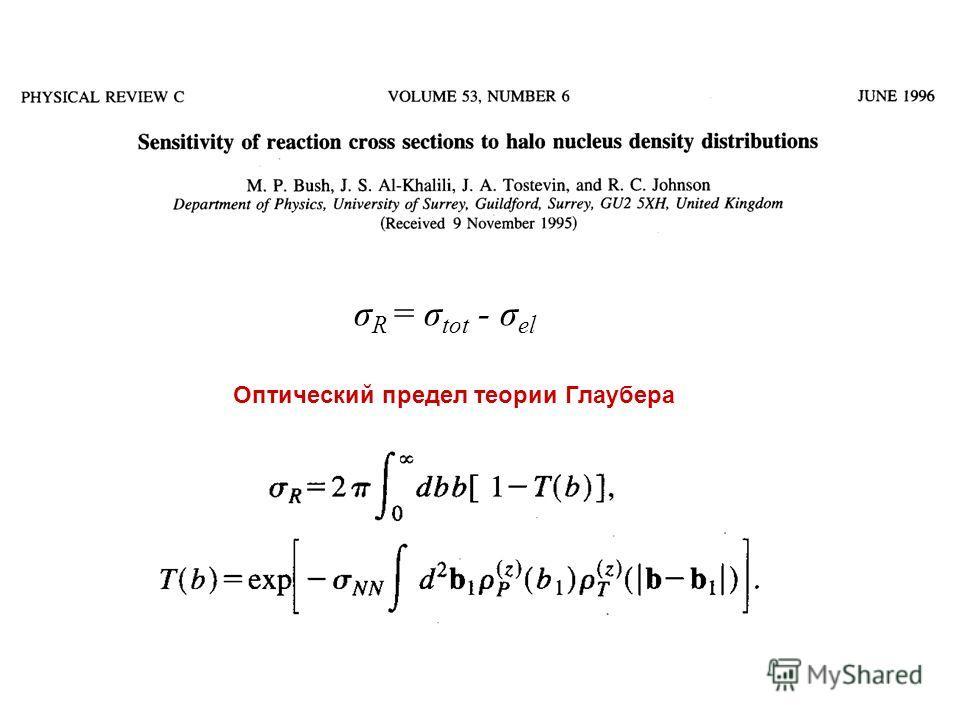 Оптический предел теории Глаубера σ R = σ tot - σ el