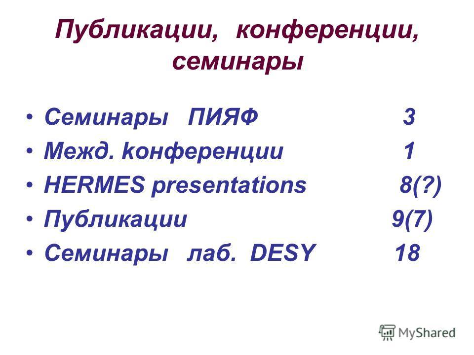 Публикации, конференции, семинары Семинары ПИЯФ 3 Межд. kонференции 1 HERMES presentations 8(?) Публикации 9(7) Семинары лаб. DESY 18