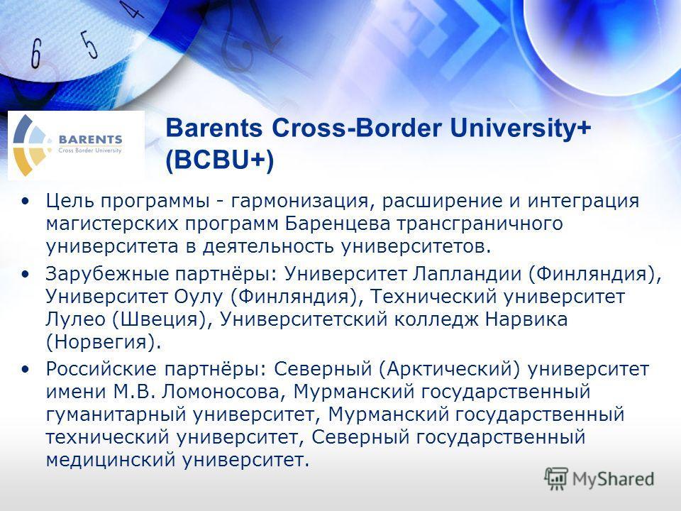 Barents Cross-Border University+ (BCBU+) Цель программы - гармонизация, расширение и интеграция магистерских программ Баренцева трансграничного университета в деятельность университетов. Зарубежные партнёры: Университет Лапландии (Финляндия), Универс