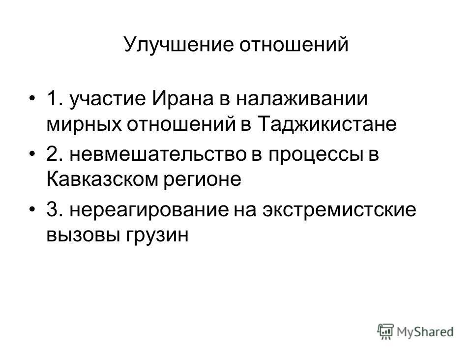 Улучшение отношений 1. участие Ирана в налаживании мирных отношений в Таджикистане 2. невмешательство в процессы в Кавказском регионе 3. нереагирование на экстремистские вызовы грузин