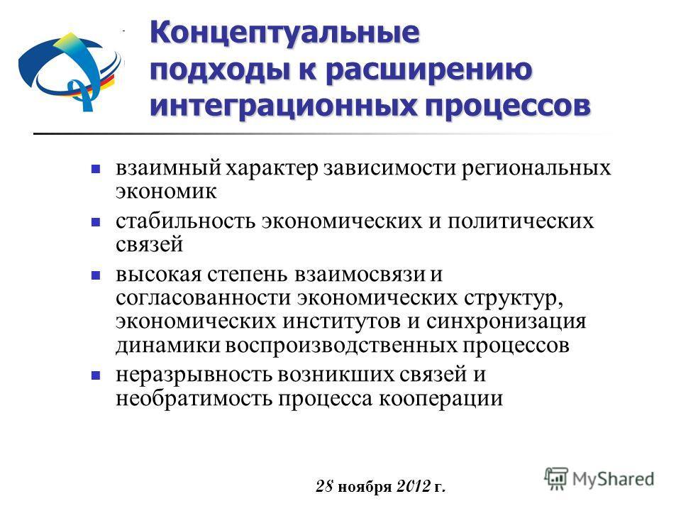 28 ноября 2012 г. Концептуальные подходы к расширению интеграционных процессов взаимный характер зависимости региональных экономик стабильность экономических и политических связей высокая степень взаимосвязи и согласованности экономических структур,