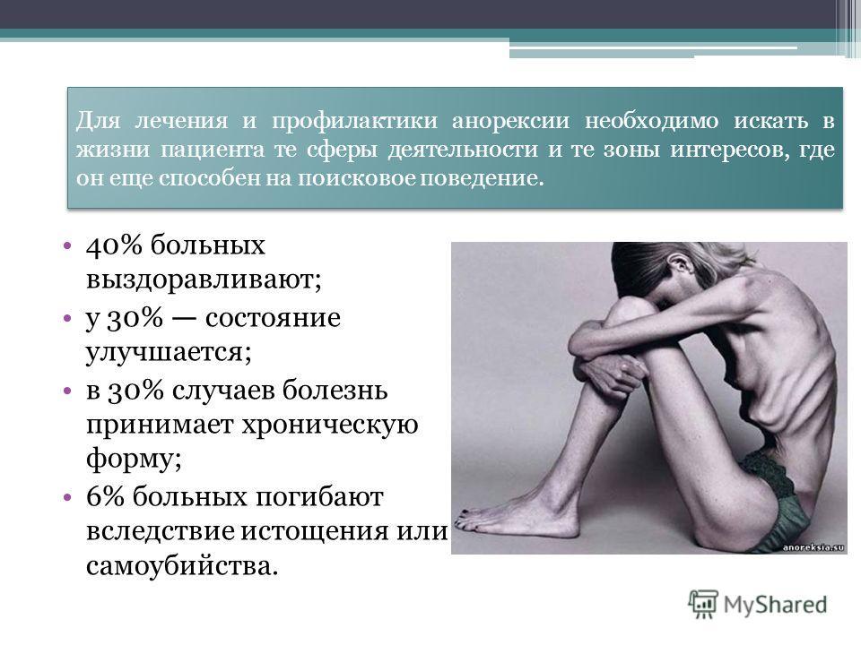 Для лечения и профилактики анорексии необходимо искать в жизни пациента те сферы деятельности и те зоны интересов, где он еще способен на поисковое поведение. 40% больных выздоравливают; у 30% состояние улучшается; в 30% случаев болезнь принимает хро