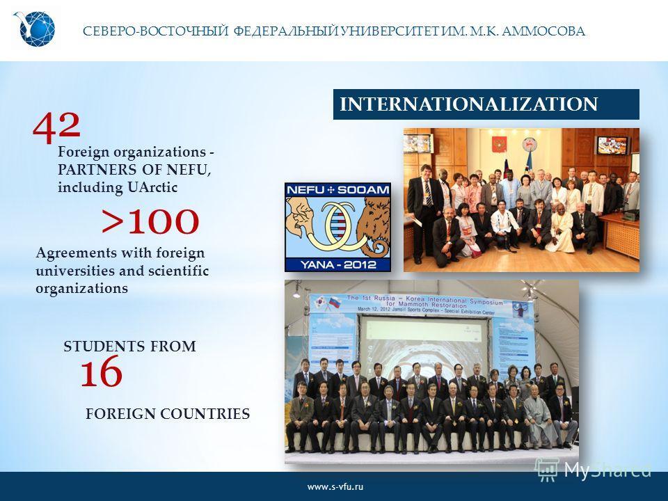 СЕВЕРО-ВОСТОЧНЫЙ ФЕДЕРАЛЬНЫЙ УНИВЕРСИТЕТ ИМ. М.К. АММОСОВА www.s-vfu.ru INTERNATIONALIZATION 42 Foreign organizations - PARTNERS OF NEFU, including UArctic >100 Agreements with foreign universities and scientific organizations 1616 STUDENTS FROM FORE