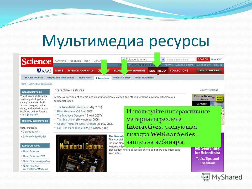 Мультимедиа ресурсы Используйте интерактивные материалы раздела Interactives, следующая вкладка Webinar Series – запись на вебинары