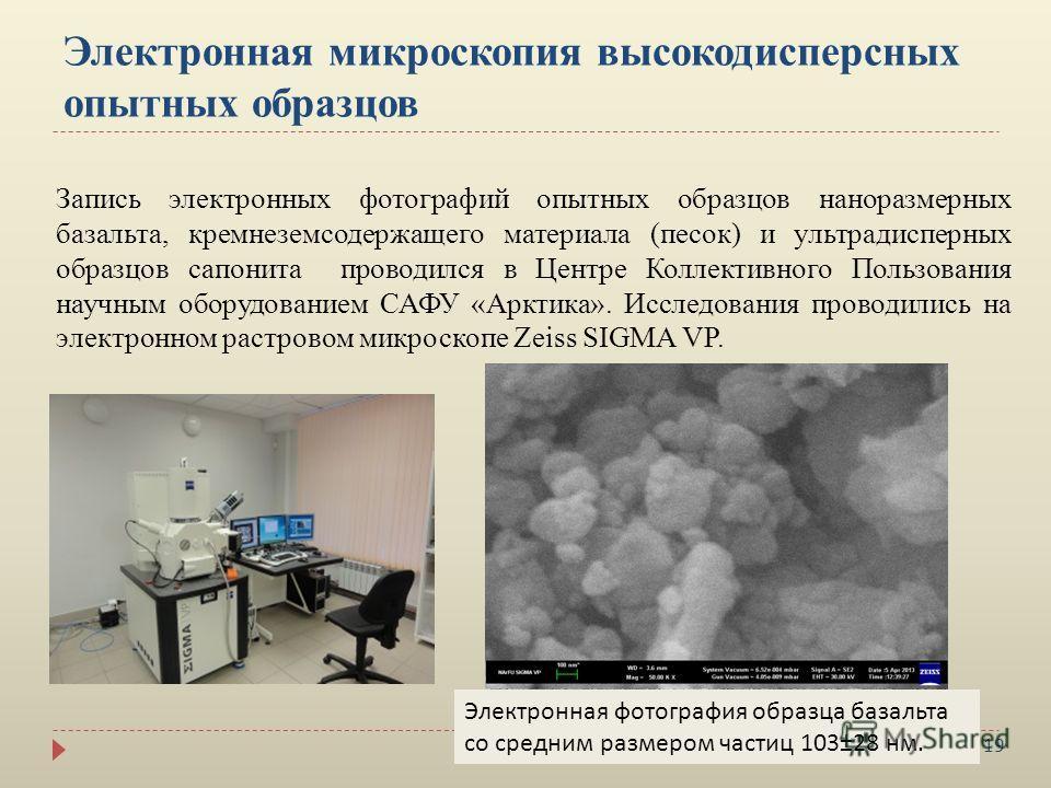 19 Электронная микроскопия высокодисперсных опытных образцов Запись электронных фотографий опытных образцов наноразмерных базальта, кремнеземсодержащего материала (песок) и ультрадисперных образцов сапонита проводился в Центре Коллективного Пользован