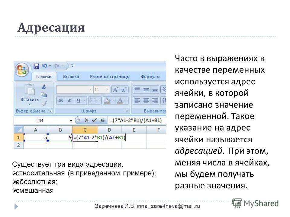 Адресация Заречнева И.В. irina_zare4neva@mail.ru Часто в выражениях в качестве переменных используется адрес ячейки, в которой записано значение переменной. Такое указание на адрес ячейки называется адресацией. При этом, меняя числа в ячейках, мы буд
