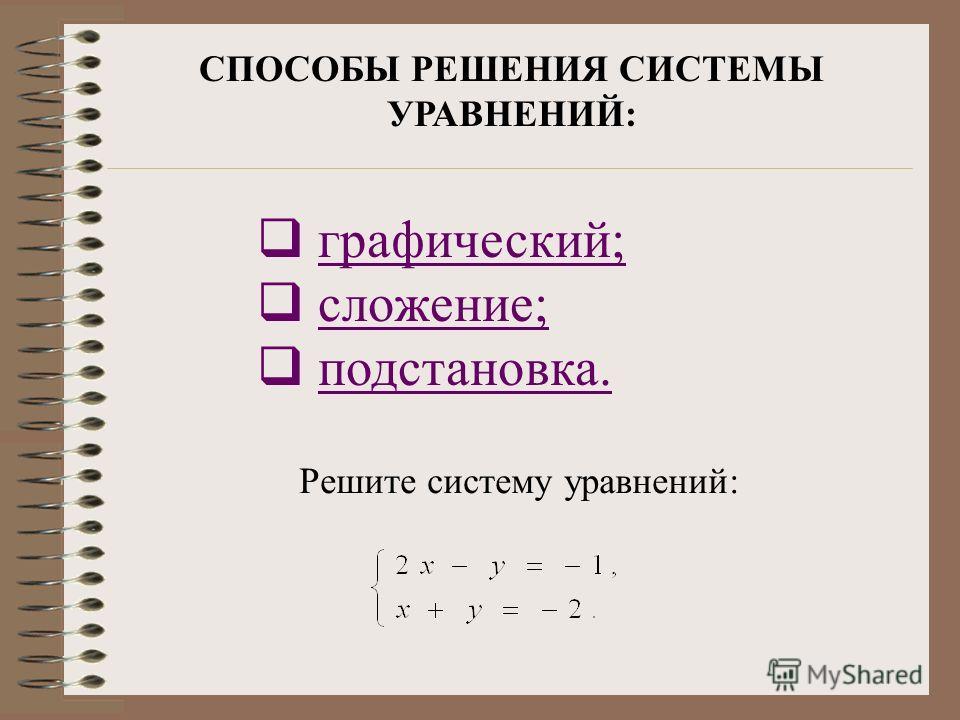СПОСОБЫ РЕШЕНИЯ СИСТЕМЫ УРАВНЕНИЙ: графический; сложение; подстановка. Решите систему уравнений: