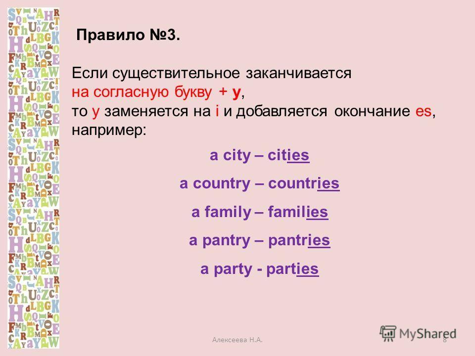 Правило 3. Если существительное заканчивается на согласную букву + y, то y заменяется на i и добавляется окончание es, например: a city – cities a country – countries a family – families a pantry – pantries a party - parties 8Алексеева Н.А.