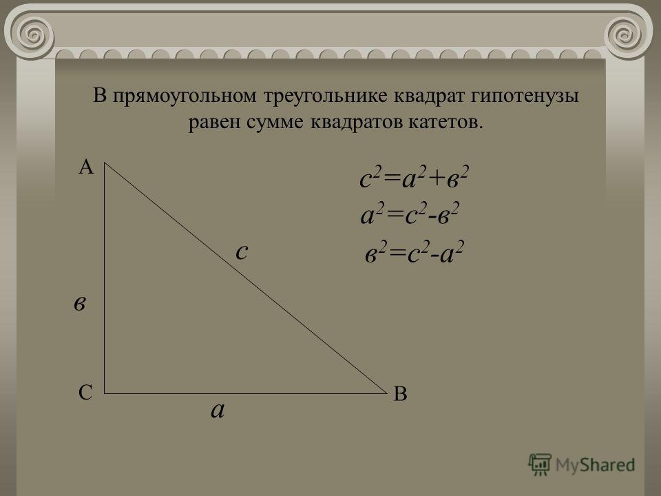 В прямоугольном треугольнике квадрат гипотенузы равен сумме квадратов катетов. С А В в с а с 2 =а 2 +в 2 в 2 =с 2 -а 2 а 2 =с 2 -в 2