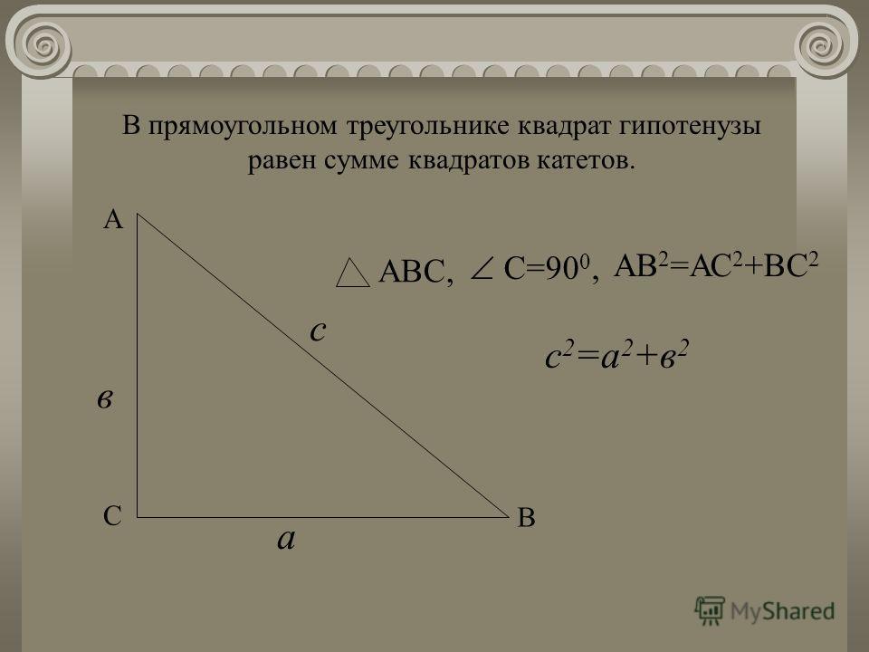 В прямоугольном треугольнике квадрат гипотенузы равен сумме квадратов катетов. С А В в с а С=90 0, АВС, с 2 =а 2 +в 2 АВ 2 =АС 2 +ВС 2