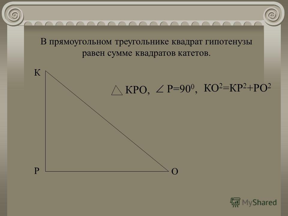 Р К О КРО, Р=90 0, КО 2 =КР 2 +РО 2 В прямоугольном треугольнике квадрат гипотенузы равен сумме квадратов катетов.