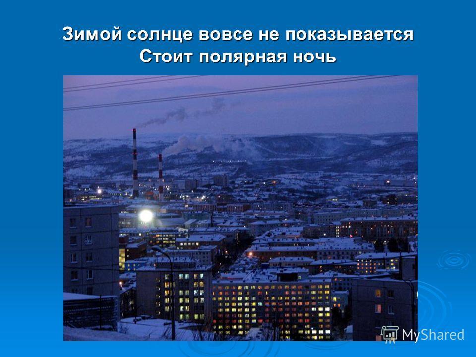 Зимой солнце вовсе не показывается Стоит полярная ночь