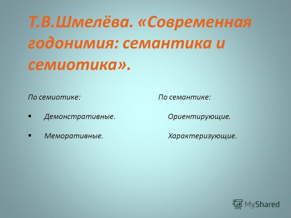 Т.В.Шмелёва. «Современная годонимия: семантика и семиотика». По семиотике: По семантике: Демонстративные. Ориентирующие. Меморативные. Характеризующие.