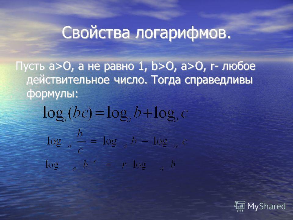 Свойства логарифмов. Пусть а>O, а не равно 1, b>O, a>О, r- любое действительное число. Тогда справедливы формулы: