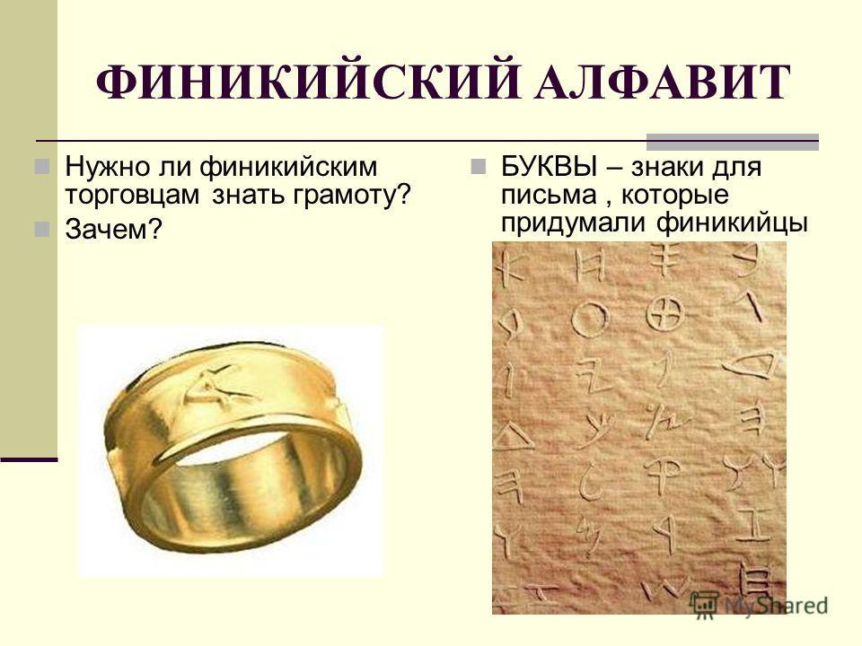 ФИНИКИЙСКИЙ АЛФАВИТ Нужно ли финикийским торговцам знать грамоту? Зачем? БУКВЫ – знаки для письма, которые придумали финикийцы