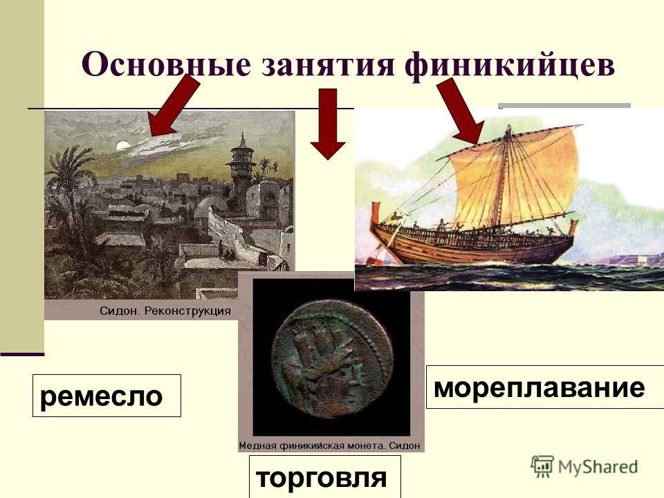 Основные занятия финикийцев ремесло торговля мореплавание