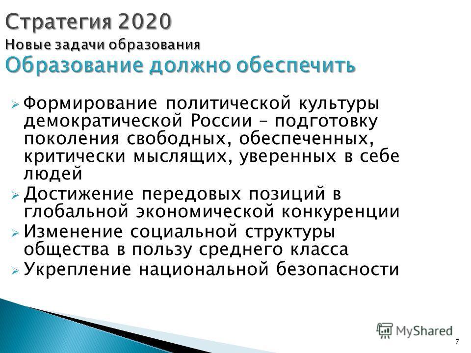 7 Стратегия 2020 Новые задачи образования Образование должно обеспечить Формирование политической культуры демократической России – подготовку поколения свободных, обеспеченных, критически мыслящих, уверенных в себе людей Достижение передовых позиций