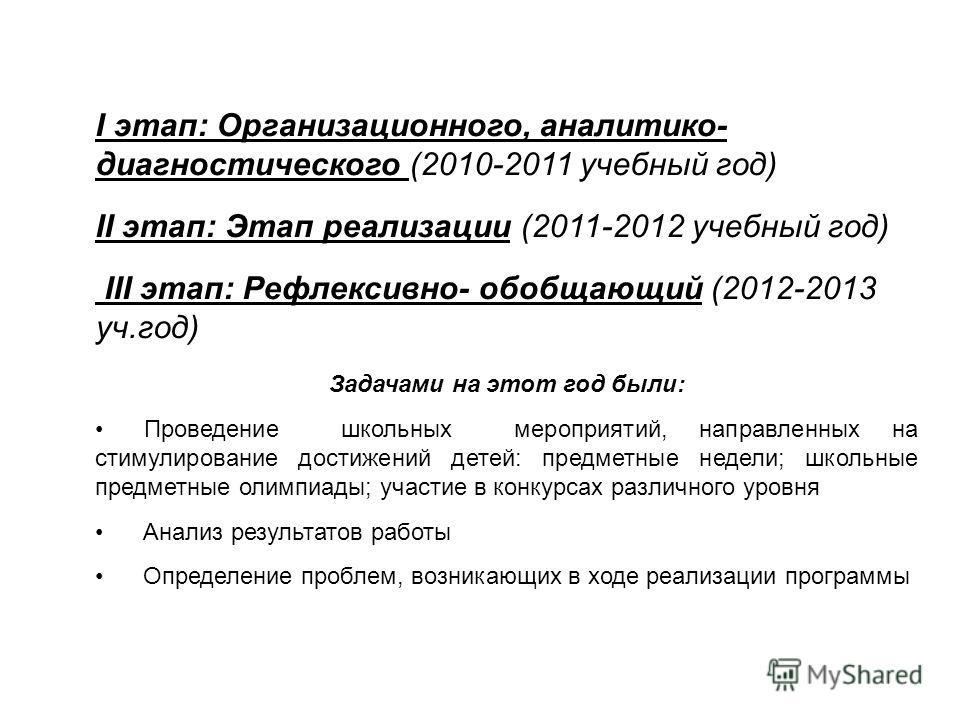 I этап: Организационного, аналитико- диагностического (2010-2011 учебный год) II этап: Этап реализации (2011-2012 учебный год) III этап: Рефлексивно- обобщающий (2012-2013 уч.год) Задачами на этот год были: Проведение школьных мероприятий, направленн