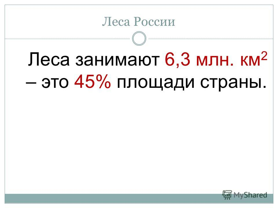 Леса России Леса занимают 6,3 млн. км 2 – это 45% площади страны.