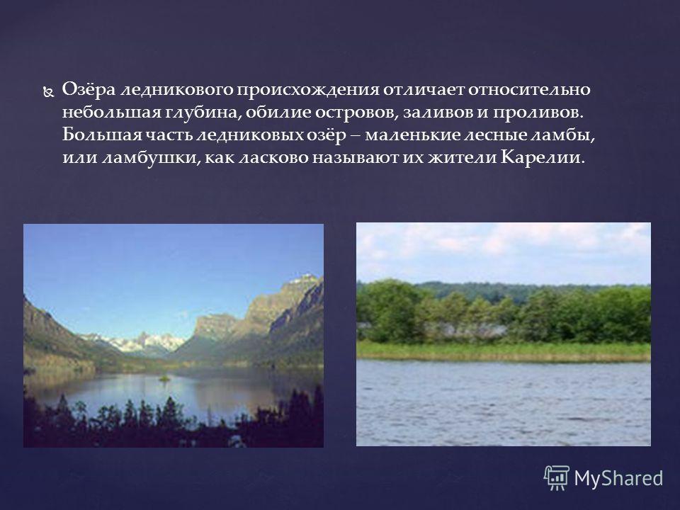 Озёра ледникового происхождения отличает относительно небольшая глубина, обилие островов, заливов и проливов. Большая часть ледниковых озёр – маленькие лесные ламбы, или ламбушки, как ласково называют их жители Карелии.