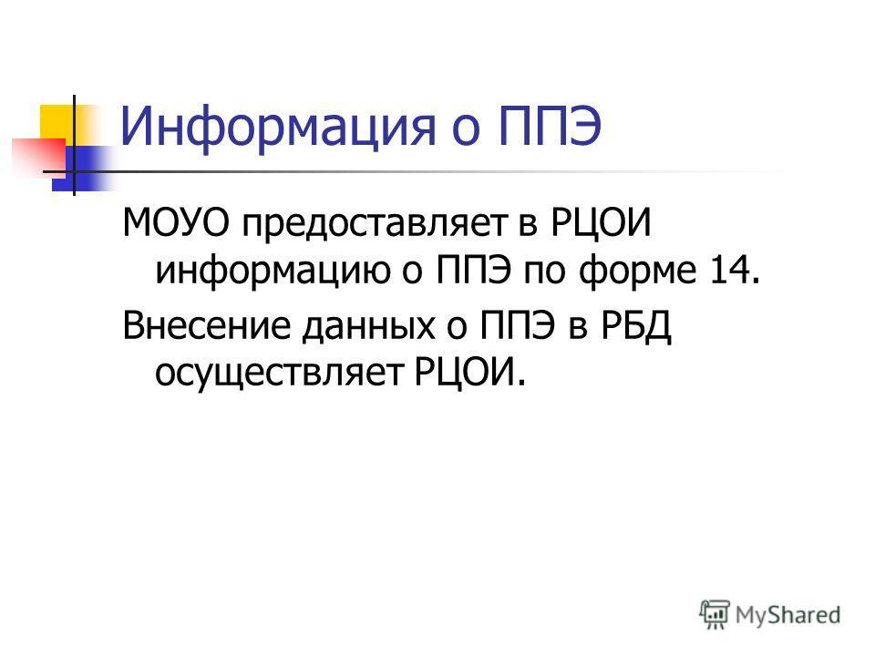 Информация о ППЭ МОУО предоставляет в РЦОИ информацию о ППЭ по форме 14. Внесение данных о ППЭ в РБД осуществляет РЦОИ.