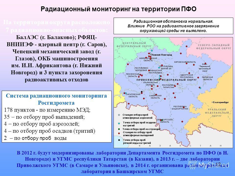 На территории округа расположено 7 радиационно-опасных объектов: БалАЭС (г. Балаково); РФЯЦ- ВНИИЭФ - ядерный центр (г. Саров), Чепецкий механический завод (г. Глазов), ОКБ машиностроения им. И.И. Африкантова (г. Нижний Новгород) и 3 пункта захоронен