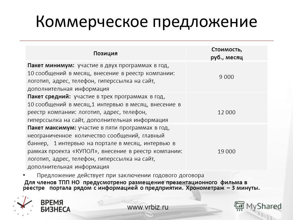 www.vrbiz.ru Коммерческое предложение Предложение действует при заключении годового договора Для членов ТПП НО предусмотрено размещение презентационного фильма в реестре портала рядом с информацией о предприятии. Хронометраж – 3 минуты. Позиция Стоим