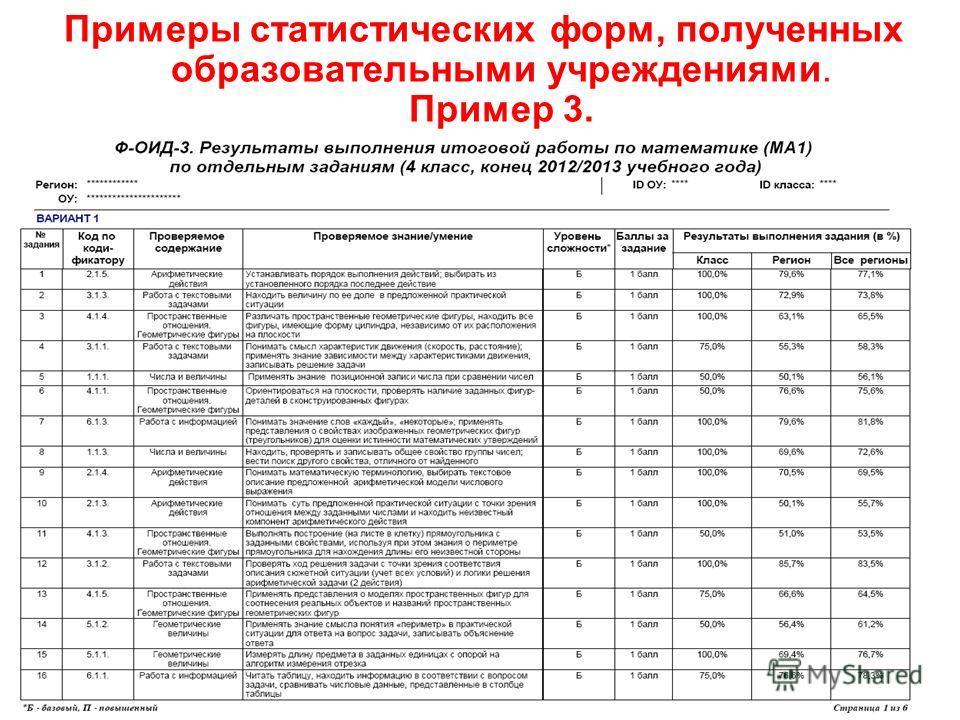Примеры статистических форм, полученных образовательными учреждениями. Пример 3. 34