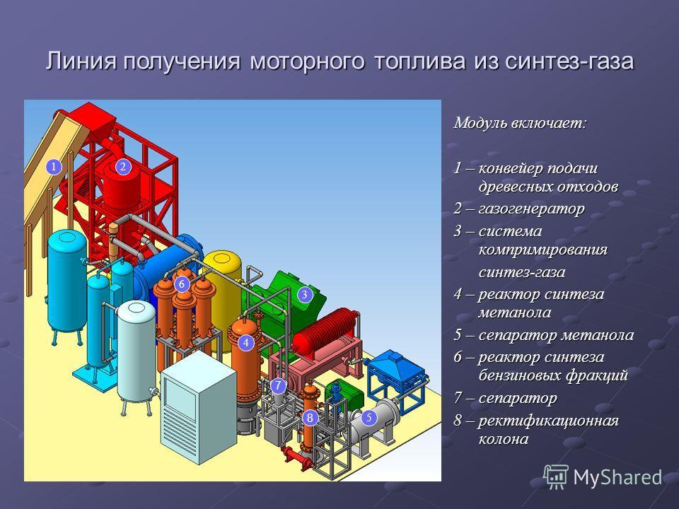Модуль включает: 1 – конвейер подачи древесных отходов 2 – газогенератор 3 – система компримирования синтез-газа синтез-газа 4 – реактор синтеза метанола 5 – сепаратор метанола 6 – реактор синтеза бензиновых фракций 7 – сепаратор 8 – ректификационная