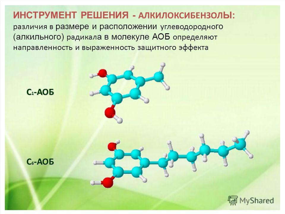 ИНСТРУМЕНТ РЕШЕНИЯ - АЛКИЛОКСИБЕНЗОЛ Ы: различия в размере и расположении углеводородно го (алкильного) радикал а в молекуле АОБ определяют направленность и выраженность защитного эффекта С 1 -АОБ С 6 -АОБ