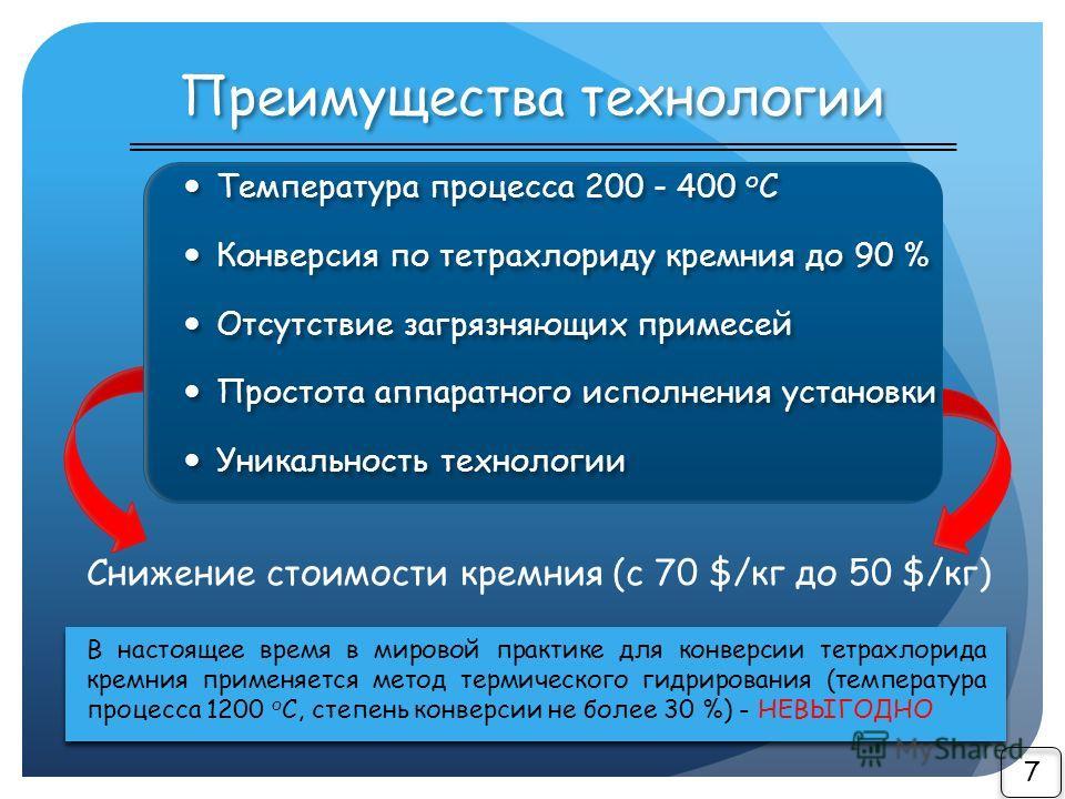 Преимущества технологии 7 Температура процесса 200 - 400 о С Конверсия по тетрахлориду кремния до 90 % Отсутствие загрязняющих примесей Простота аппаратного исполнения установки Уникальность технологии Температура процесса 200 - 400 о С Конверсия по