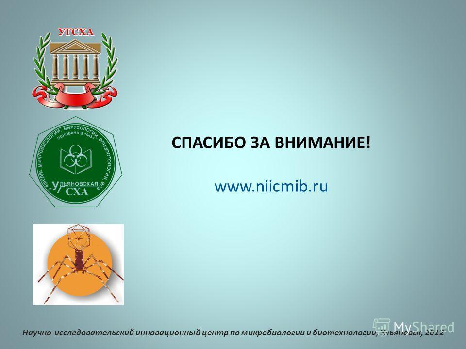 СПАСИБО ЗА ВНИМАНИЕ! www.niicmib.ru Научно-исследовательский инновационный центр по микробиологии и биотехнологии, Ульяновск, 2012
