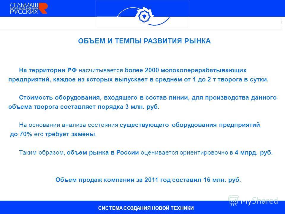 На территории РФ насчитывается более 2000 молокоперерабатывающих предприятий, каждое из которых выпускает в среднем от 1 до 2 т творога в сутки. Стоимость оборудования, входящего в состав линии, для производства данного объема творога составляет поря